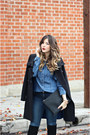 Black-zara-boots-black-tahari-coat-navy-guess-top