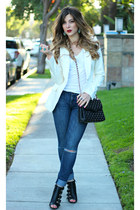 white Guess blazer - black Charlotte Russe shoes - blue Guess jeans