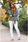 White-guess-jeans-heather-gray-guess-jacket-mustard-forever-21-scarf