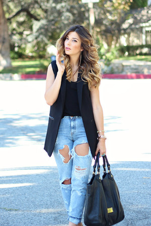 black Marc by Marc Jacobs bag - sky blue Zara jeans - black H&M vest