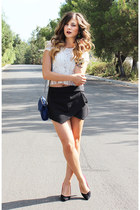 Topshop top - Zara shorts - Rebecca Minkoff belt