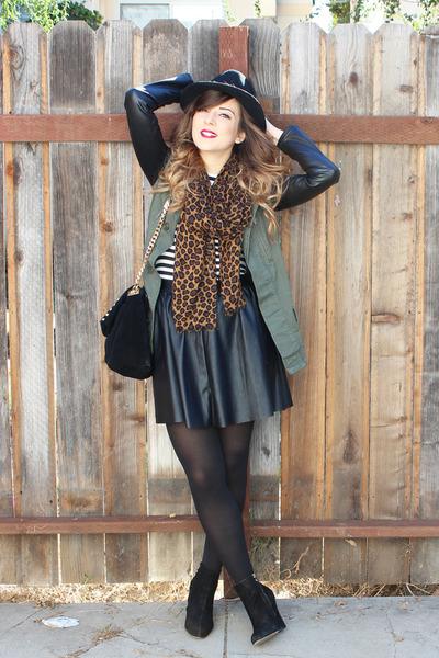 Topshop skirt - sam edelman boots - Topshop jacket - Bebe top
