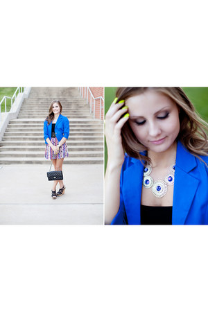 blue strawberry blazer - black tube top H&M top - black xappeal wedges