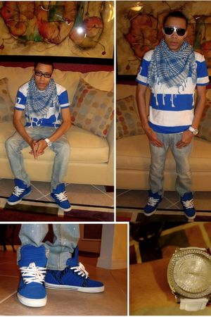 blue Aeropostale shirt - white PacSun jeans - blue Supra Footwear shoes - white