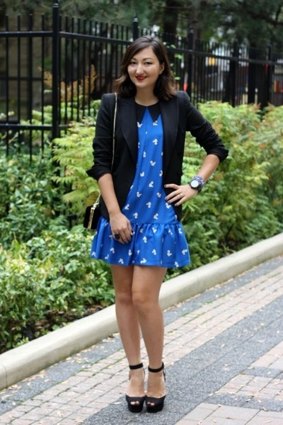 blue squirrel print Topshop dress - black tuxedo Zara blazer