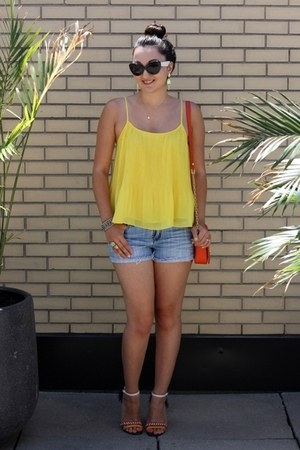 yellow pleated Forever 21 top - carrot orange tory burch bag