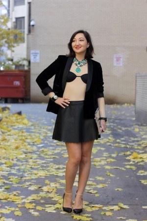 tan H&M top - black leather Club Monaco skirt