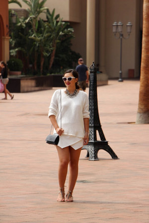 white skort Zara skirt - ivory white knit Gap sweater