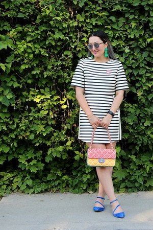 striped Topshop dress - Chanel bag - silver so real dior sunglasses
