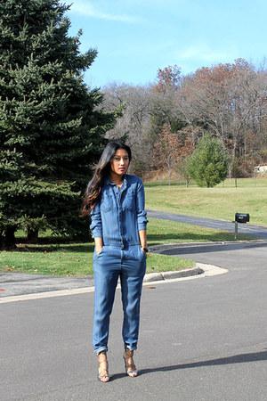 silver Aldo shoes - blue denim jumpsuit H&M bodysuit