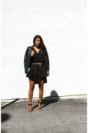 dark green leather moto Guess jacket - black bcbg max azria dress