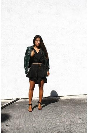 dark green leather moto Guess jacket - black bcbg max azria dress