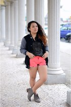 heather gray Bershka boots - black varsity jacket - coral tie dye Bershka shorts