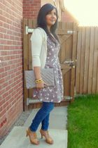 brown Dorothy Perkins dress - blue Topshop jeans - Topshop cardigan - Topshop pu