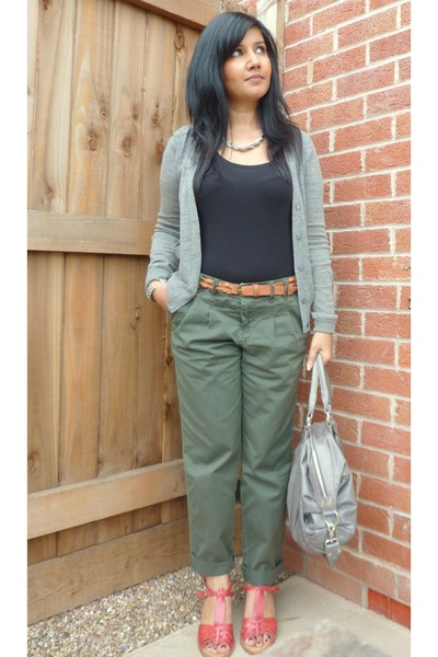 gray Gap cardigan - green new look pants - red Topshop shoes - gray oushka londo