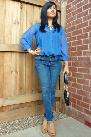 blue Primark blouse - blue Topshop jeans - brown next shoes - black Topshop purs