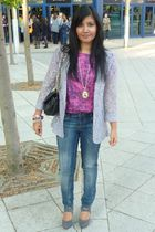 gray Primark blazer - pink Topshop blouse - blue Topshop jeans - gray new look s