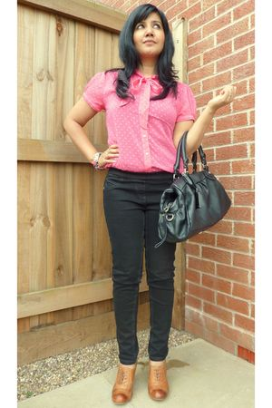 pink H&M blouse - black next - brown Office shoes - black Marc by Marc Jacobs pu