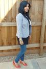 Black-h-m-dress-gray-topshop-blazer-blue-topshop-jeans-red-topshop-shoes-