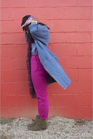 blue thrifted vintage jacket - deep purple gap thrifted scarf