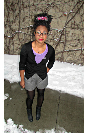 DSW boots - SANDRO shorts - Express cardigan - Target t-shirt - DIY accessories