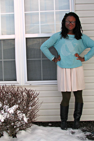 navy Thrift Store boots - eggshell worn as skirt Express dress
