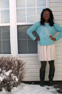 Navy-thrift-store-boots-eggshell-worn-as-skirt-express-dress
