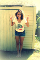 blue Forever 21 shorts - white American Eagle t-shirt - brown hollister belt - b