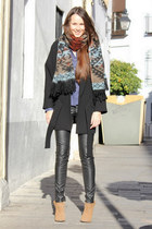 light brown Zara boots - black Zara coat - navy Zara shirt - pull&bear scarf