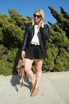 black leather H&M jacket - tan Forever 21 boots - cream Urban Outfitters shirt