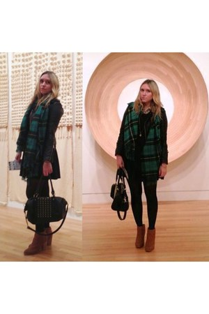 green tartan hm scarf - brown studded Urban Outfitters shoes