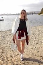 white Nila Anthony bag - ivory leather Zara jacket - black Zara sweater