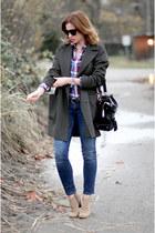 Topshop coat - Pegabo boots - Zara jeans - Aritzia shirt - SANDRO bag