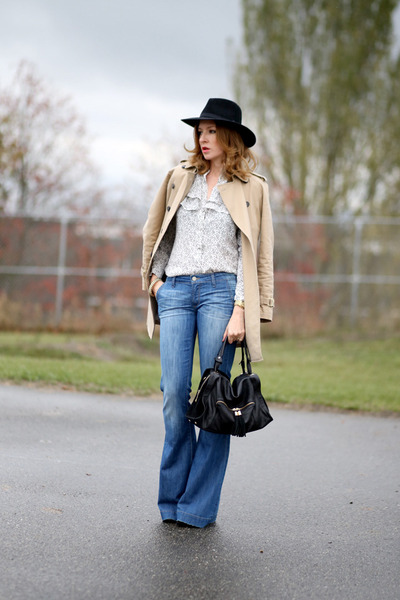 Zara coat - Paige jeans - SANDRO bag - Reiss blouse