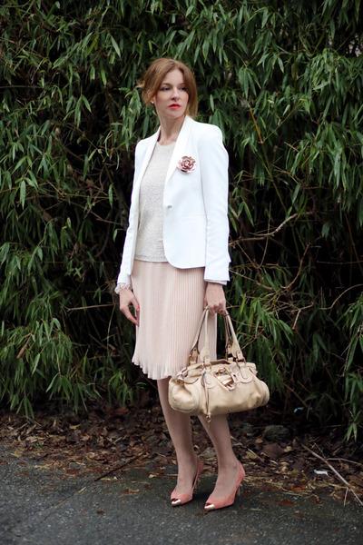 Zara dress - Des petits hauts sweater - Zara blazer - Chloe bag
