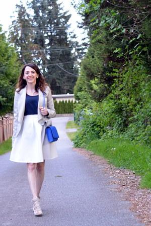 white Forever 21 skirt - periwinkle Dynamite blazer - blue H&M bag