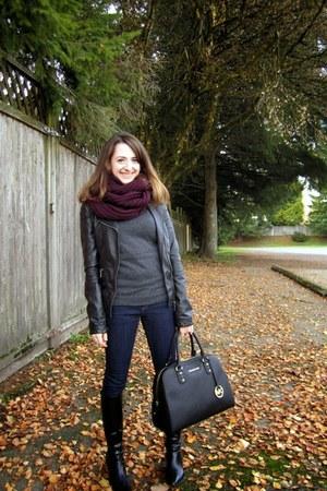 maroon Aldo scarf - black Payless boots - blue Smart Set jeans