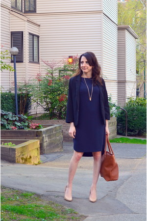 navy H&M dress - black Dynamite blazer - cream le chateau heels