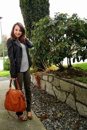 black Zara jacket - orange coach bag - green Zara pants
