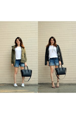 black Zara jacket - black H&M bag - blue Dynamite shorts
