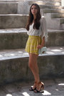 White-michael-kors-bag-yellow-h-m-shorts-dark-brown-steve-madden-sandals