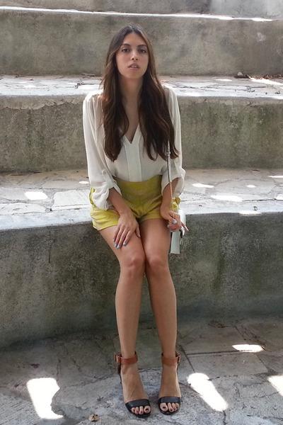 dark brown Steve Madden sandals - white Michael Kors bag - yellow H&M shorts