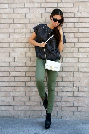 black Zara boots - olive green H&M jeans - white Michael Kors bag