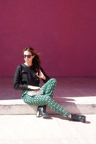 black Zara boots - black H&M sweater - white Michael Kors bag