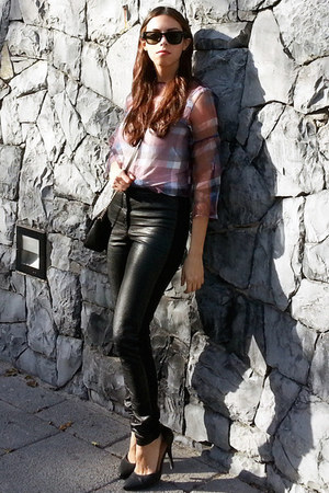 crimson Zara blouse - black H&M leggings - black Michael Kors bag