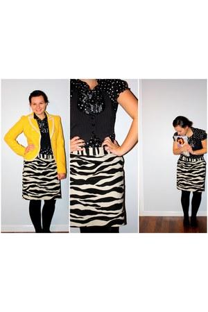 yellow Loft jacket - black Target skirt - shirt - vest