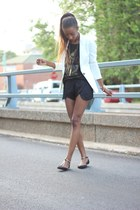 Zara blazer - Zara shorts - Zara top - Zara flats