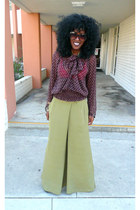 dark brown vintage blouse - olive green asos pants