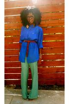 blue H&M shirt - green Urban Outfitters pants - brown Jeffrey Campbell clogs