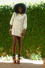 Beige-h-m-dress-black-h-m-socks-brown-jessica-simpson-shoes